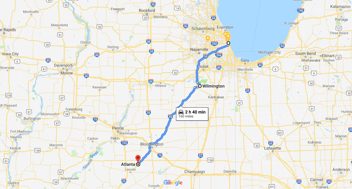 Route 66 road map Illinois