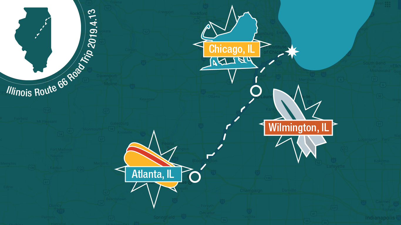 Illinois Route 66 Road Trip infographic map