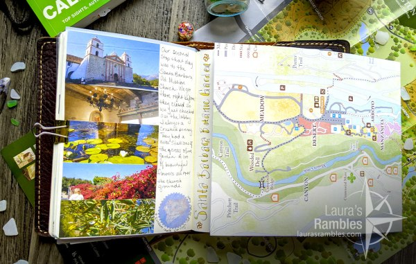 My California travel journal showing off the pull out Santa Barbara Botanic Garden map